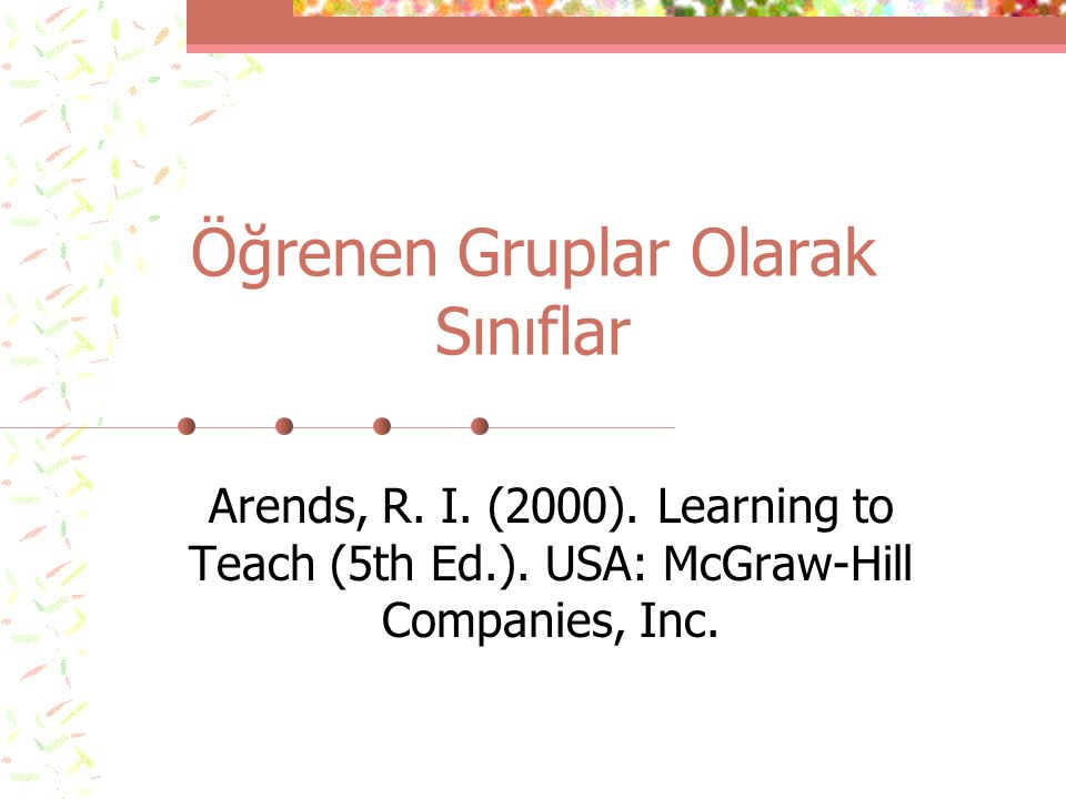 Öğrenen Gruplar Olarak Sınıflar