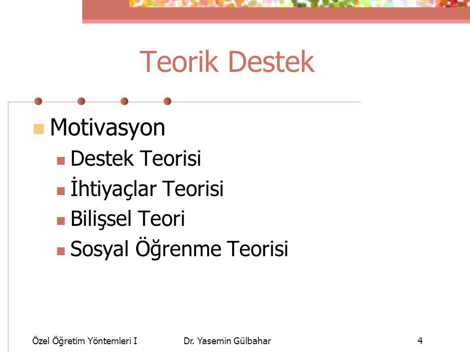 Teorik Destek Motivasyon Destek Teorisi İhtiyaçlar Teorisi