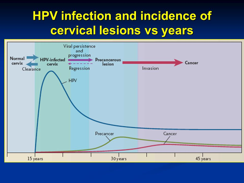 HPV infection and incidence of cervical lesions vs years