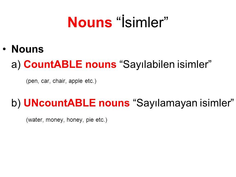 Nouns İsimler Nouns a) CountABLE nouns Sayılabilen isimler