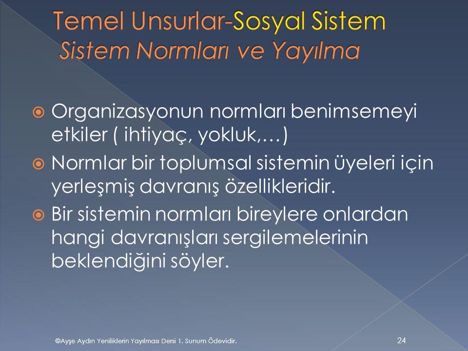 Temel Unsurlar-Sosyal Sistem Sistem Normları ve Yayılma