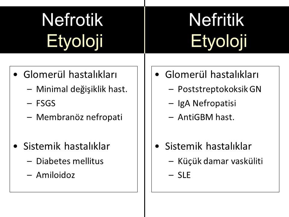 Nefrotik Etyoloji Nefritik Etyoloji Glomerül hastalıkları