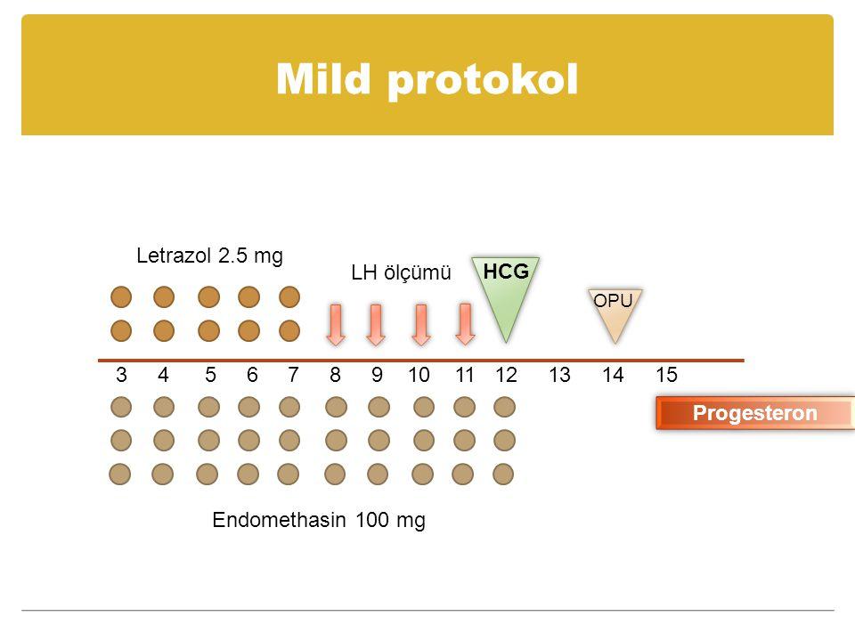 Mild protokol Letrazol 2.5 mg LH ölçümü HCG