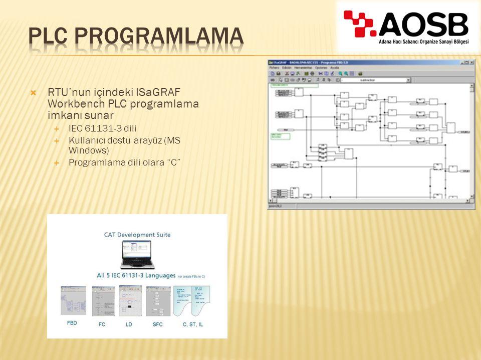 PLC Programlama RTU'nun içindeki ISaGRAF Workbench PLC programlama imkanı sunar. IEC 61131-3 dili.