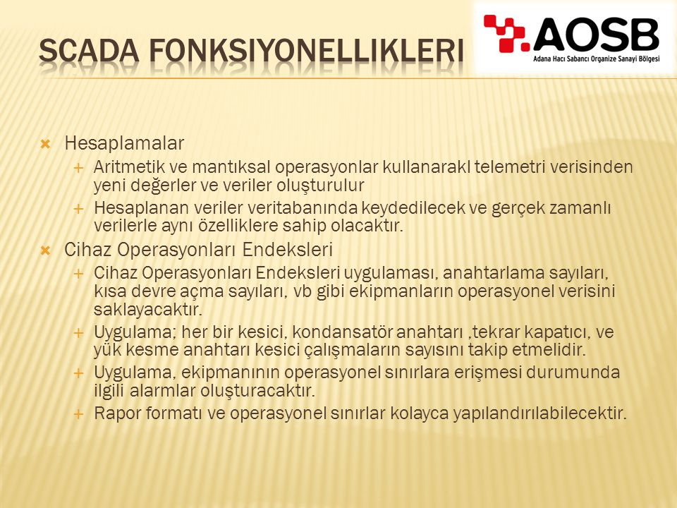 SCADA Fonksiyonellikleri