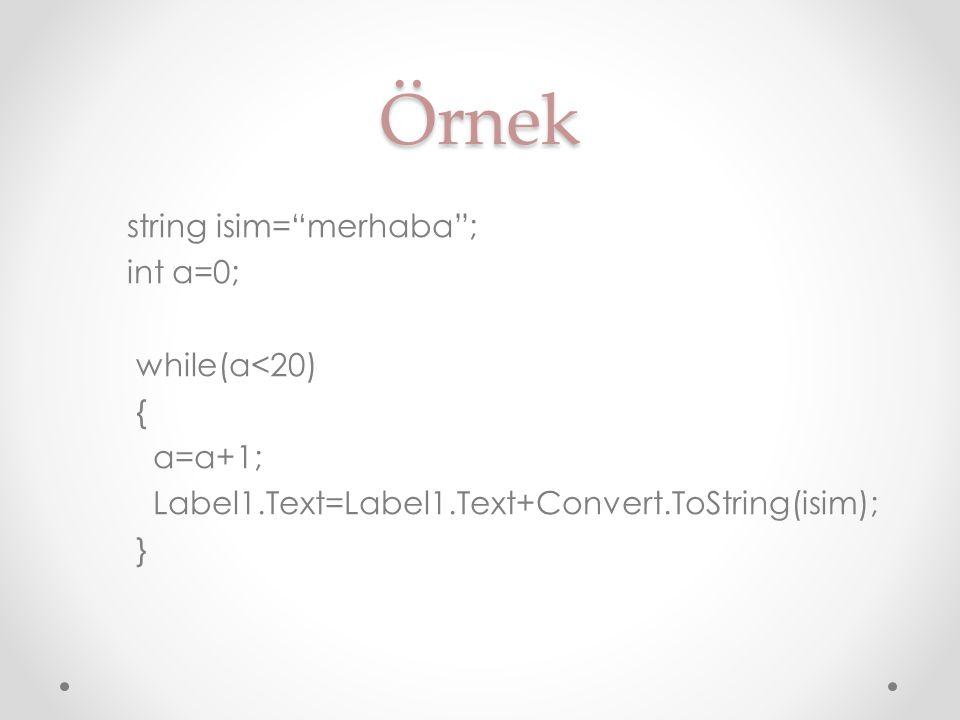 Örnek string isim= merhaba ; int a=0; while(a<20) { a=a+1;