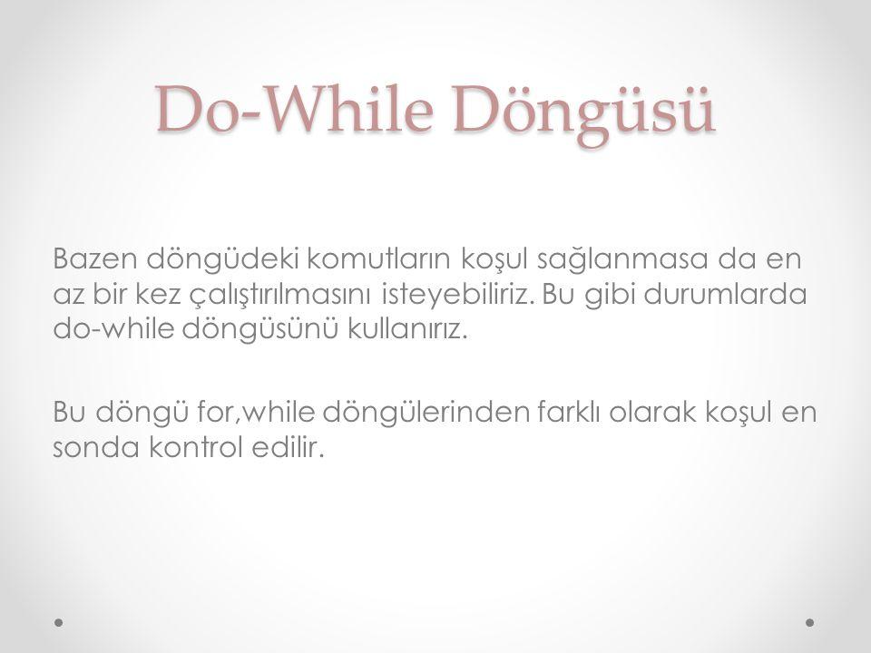 Do-While Döngüsü