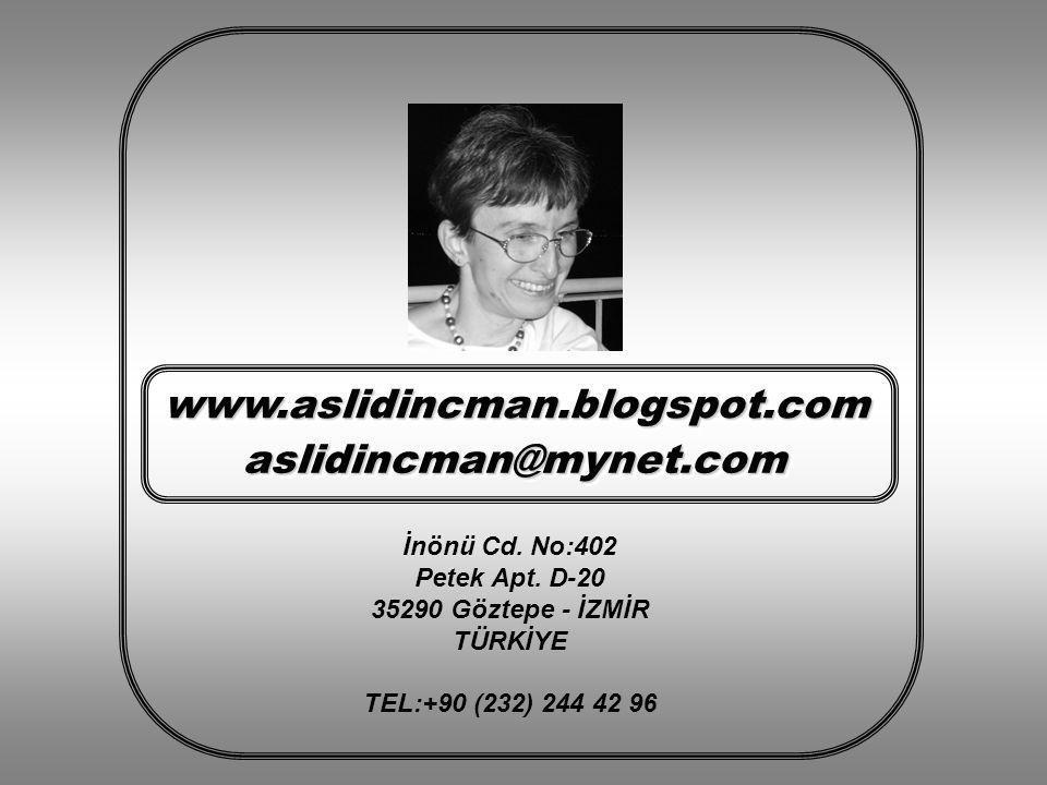 www.aslidincman.blogspot.com aslidincman@mynet.com İnönü Cd. No:402
