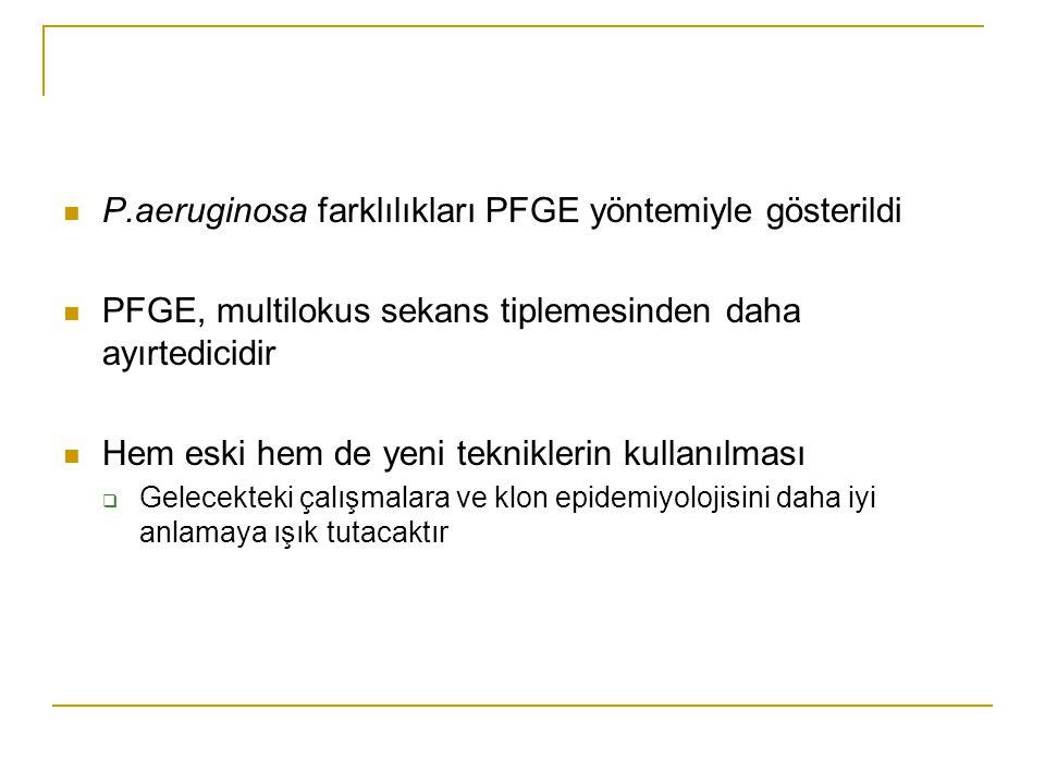 P.aeruginosa farklılıkları PFGE yöntemiyle gösterildi