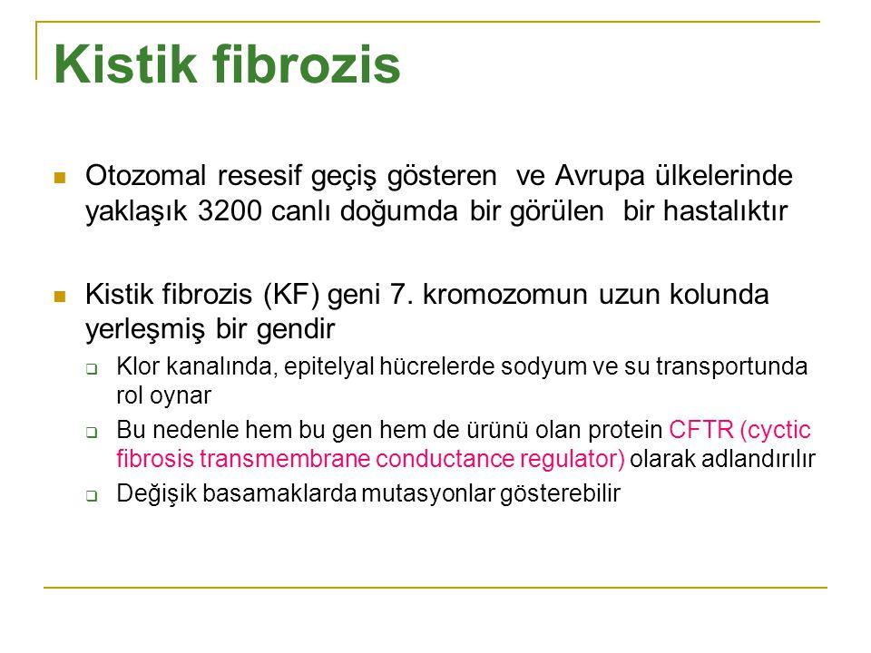 Kistik fibrozis Otozomal resesif geçiş gösteren ve Avrupa ülkelerinde yaklaşık 3200 canlı doğumda bir görülen bir hastalıktır.