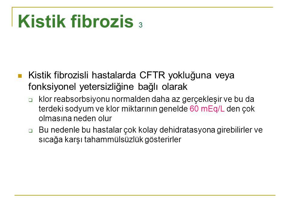Kistik fibrozis 3 Kistik fibrozisli hastalarda CFTR yokluğuna veya fonksiyonel yetersizliğine bağlı olarak.