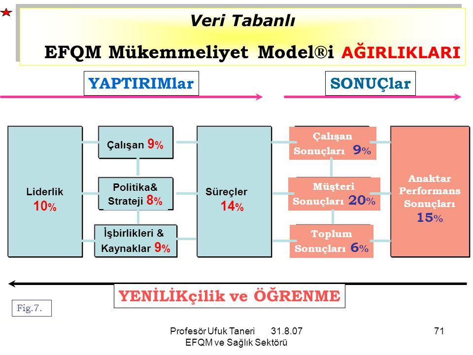Profesör Ufuk Taneri 31.8.07 EFQM ve Sağlık Sektörü