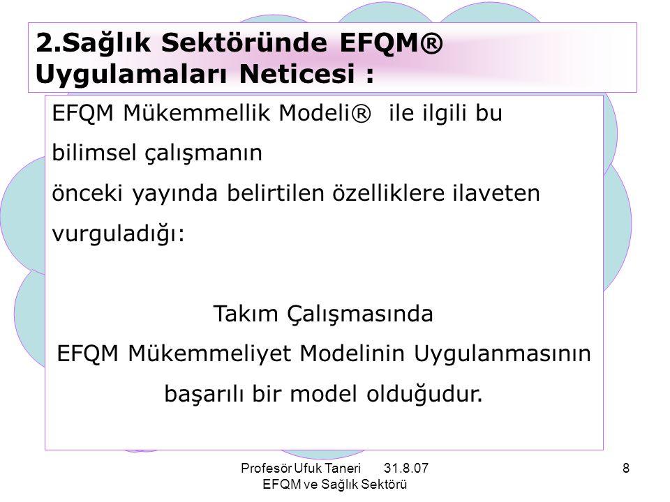 2.Sağlık Sektöründe EFQM® Uygulamaları Neticesi :