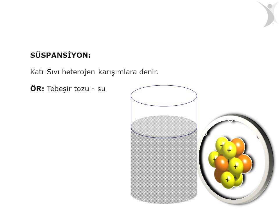 SÜSPANSİYON: Katı-Sıvı heterojen karışımlara denir. ÖR: Tebeşir tozu - su