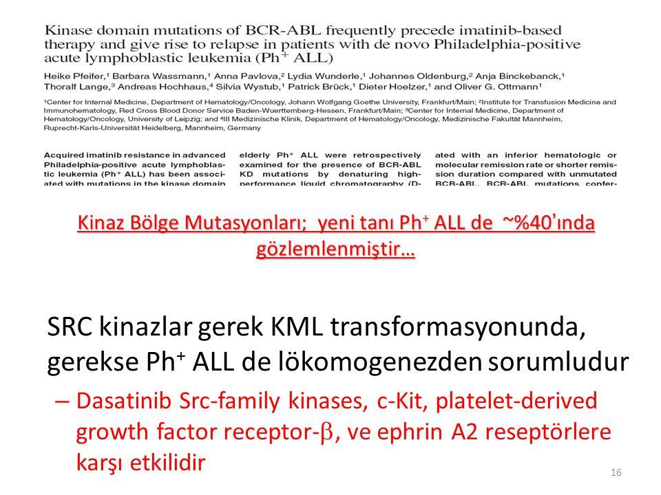 Kinaz Bölge Mutasyonları; yeni tanı Ph+ ALL de ~%40'ında gözlemlenmiştir…