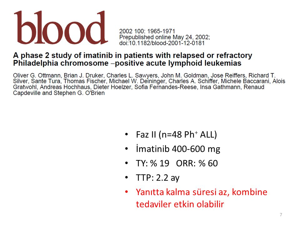 Faz II (n=48 Ph+ ALL) İmatinib 400-600 mg. TY: % 19 ORR: % 60.