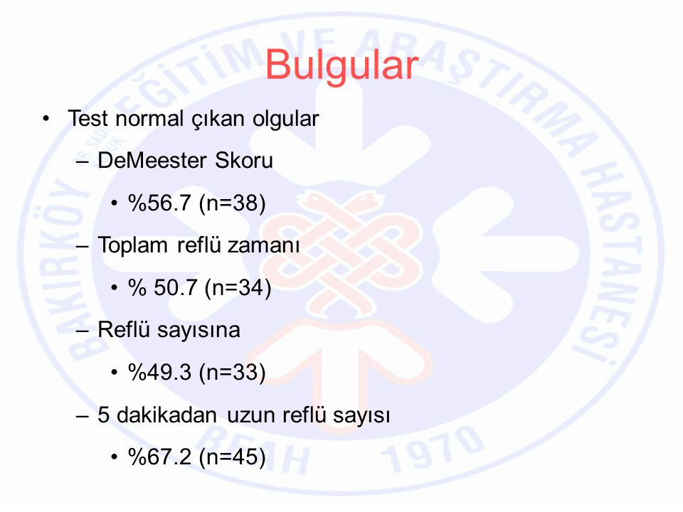 Bulgular Test normal çıkan olgular DeMeester Skoru %56.7 (n=38)