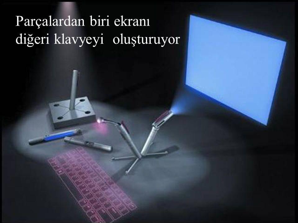 Parçalardan biri ekranı diğeri klavyeyi oluşturuyor