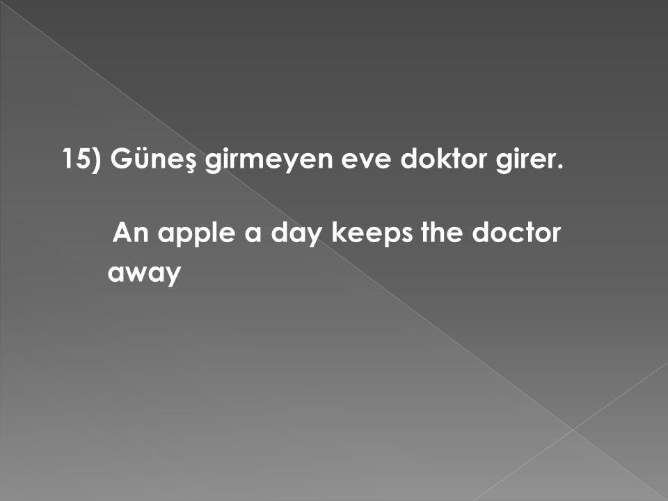 15) Güneş girmeyen eve doktor girer