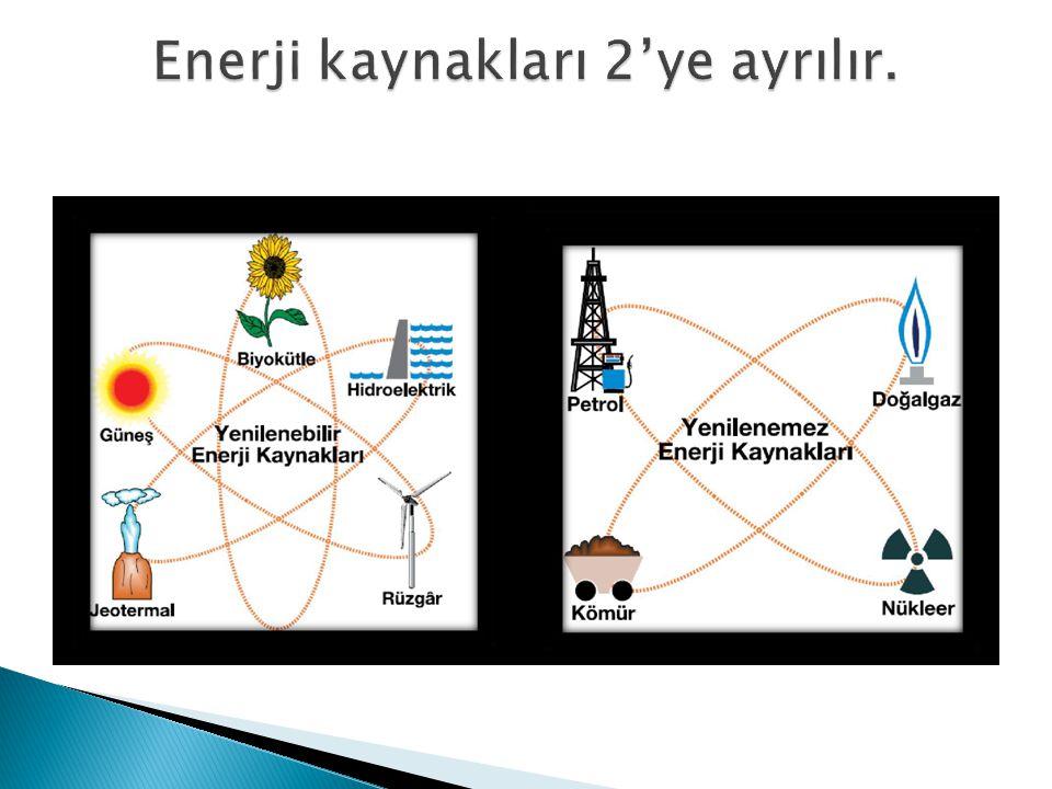 Enerji kaynakları 2'ye ayrılır.