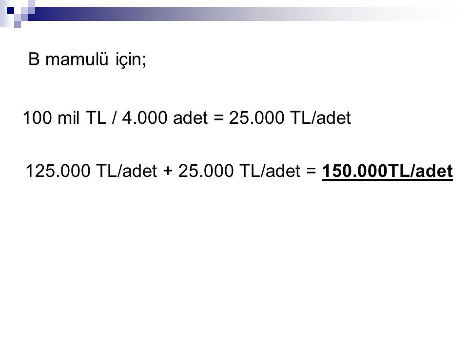 100 mil TL / 4.000 adet = 25.000 TL/adet B mamulü için;