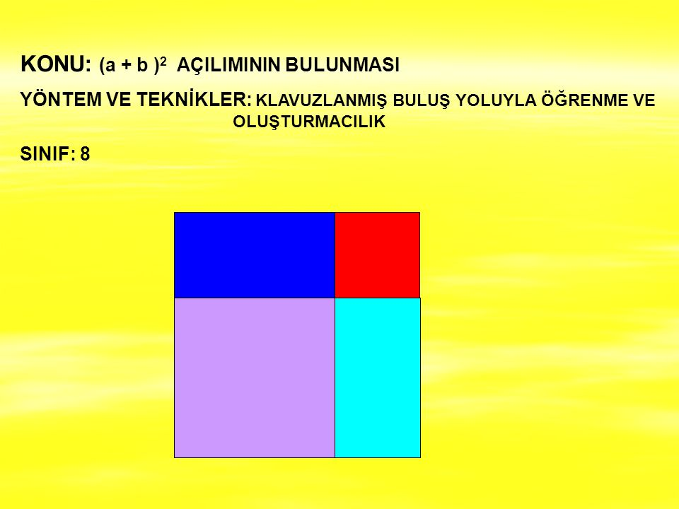 KONU: (a + b )2 AÇILIMININ BULUNMASI