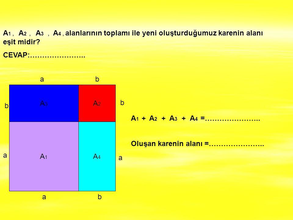 A1 , A2 , A3 , A4 , alanlarının toplamı ile yeni oluşturduğumuz karenin alanı eşit midir