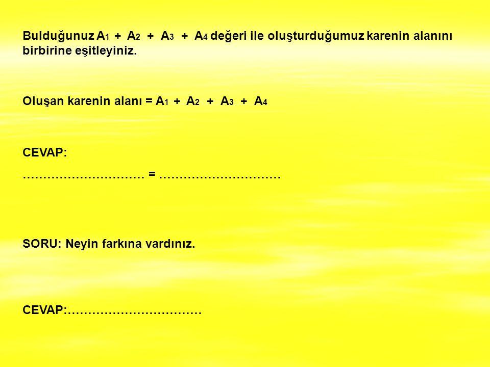 Bulduğunuz A1 + A2 + A3 + A4 değeri ile oluşturduğumuz karenin alanını birbirine eşitleyiniz.