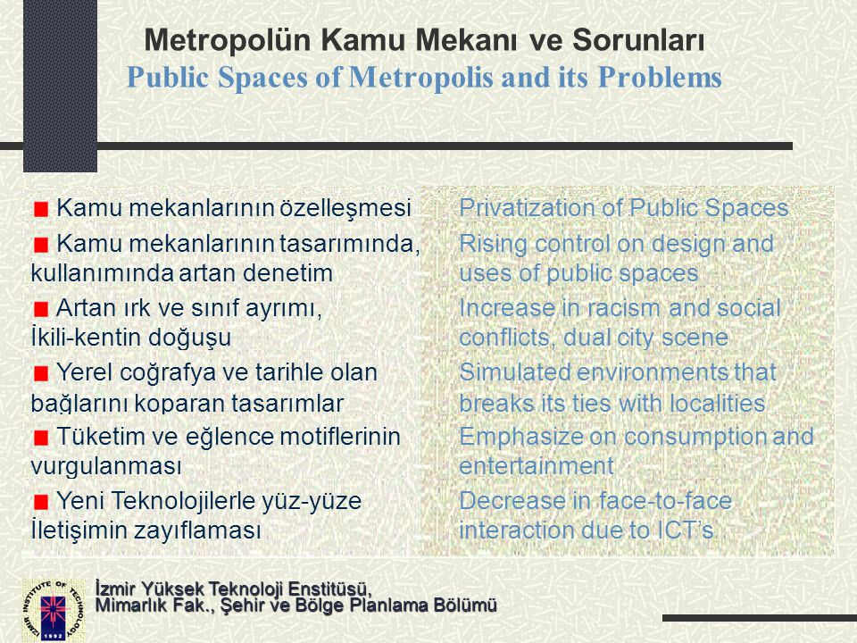 Metropolün Kamu Mekanı ve Sorunları Public Spaces of Metropolis and its Problems