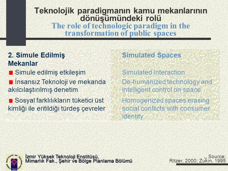Teknolojik paradigmanın kamu mekanlarının dönüşümündeki rolü The role of technologic paradigm in the transformation of public spaces