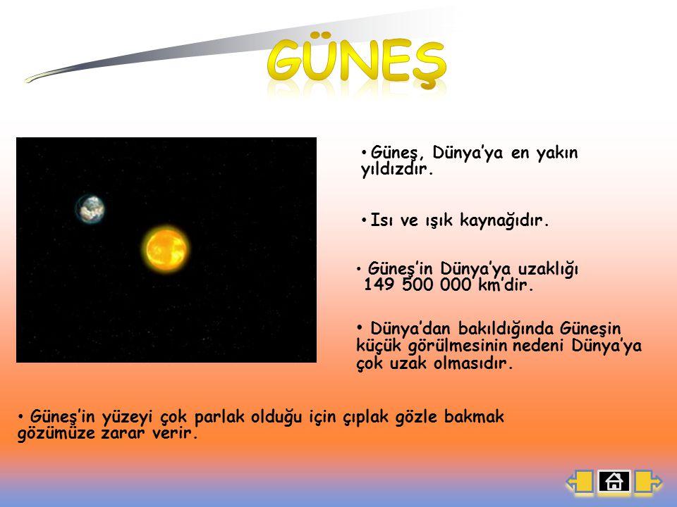 GÜNEŞ Güneş, Dünya'ya en yakın yıldızdır. Isı ve ışık kaynağıdır. Güneş'in Dünya'ya uzaklığı. 149 500 000 km'dir.