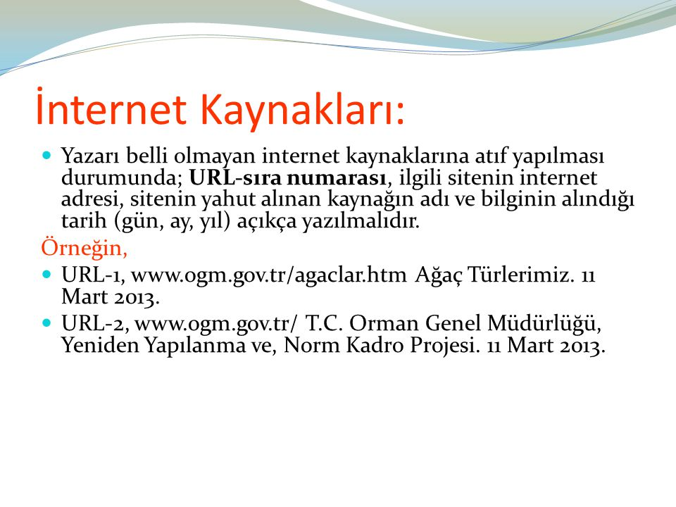 İnternet Kaynakları:
