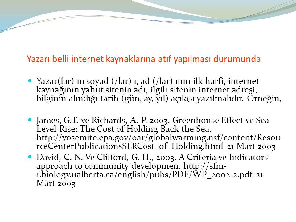Yazarı belli internet kaynaklarına atıf yapılması durumunda