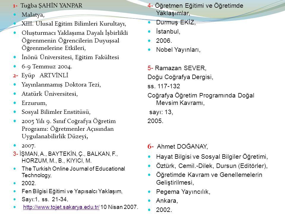 6- Ahmet DOĞANAY, 1- Tuğba ŞAHİN YANPAR Malatya,