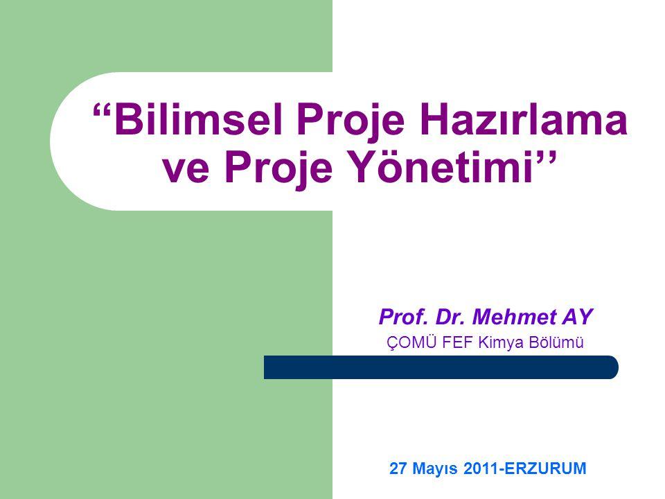 Bilimsel Proje Hazırlama ve Proje Yönetimi''