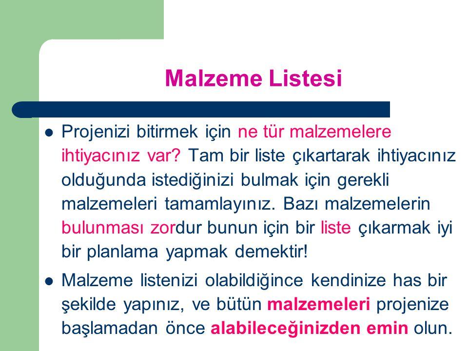 Malzeme Listesi