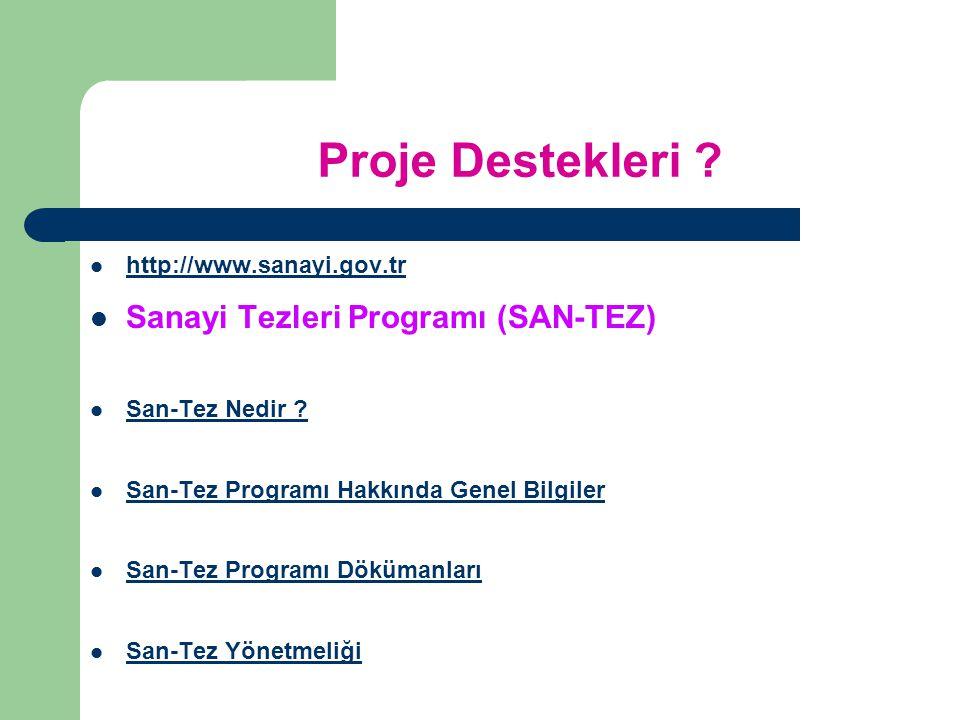 Proje Destekleri Sanayi Tezleri Programı (SAN-TEZ)