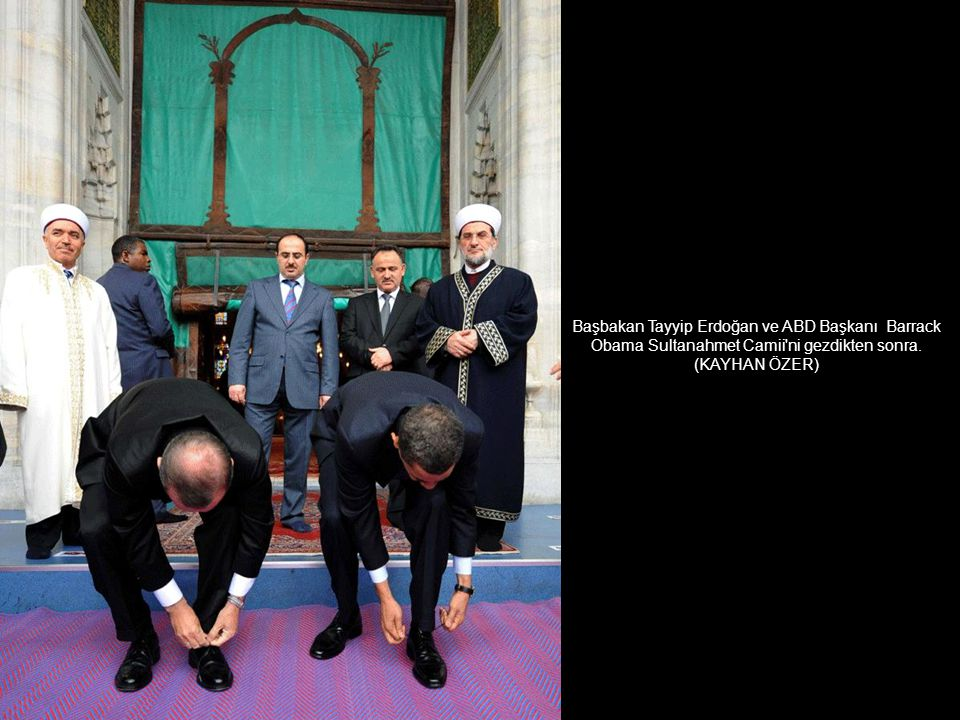 Başbakan Tayyip Erdoğan ve ABD Başkanı Barrack Obama Sultanahmet Camii ni gezdikten sonra.
