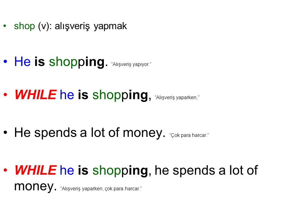 He is shopping. Alışveriş yapıyor.