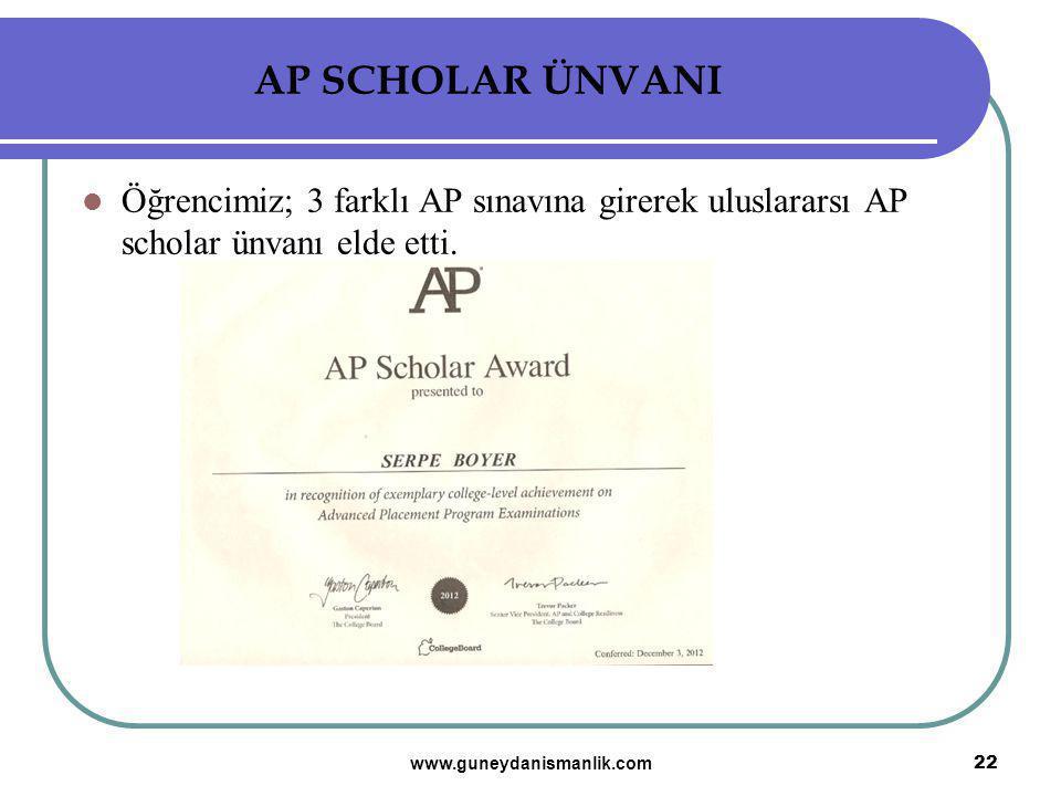 AP SCHOLAR ÜNVANI Öğrencimiz; 3 farklı AP sınavına girerek uluslararsı AP scholar ünvanı elde etti.