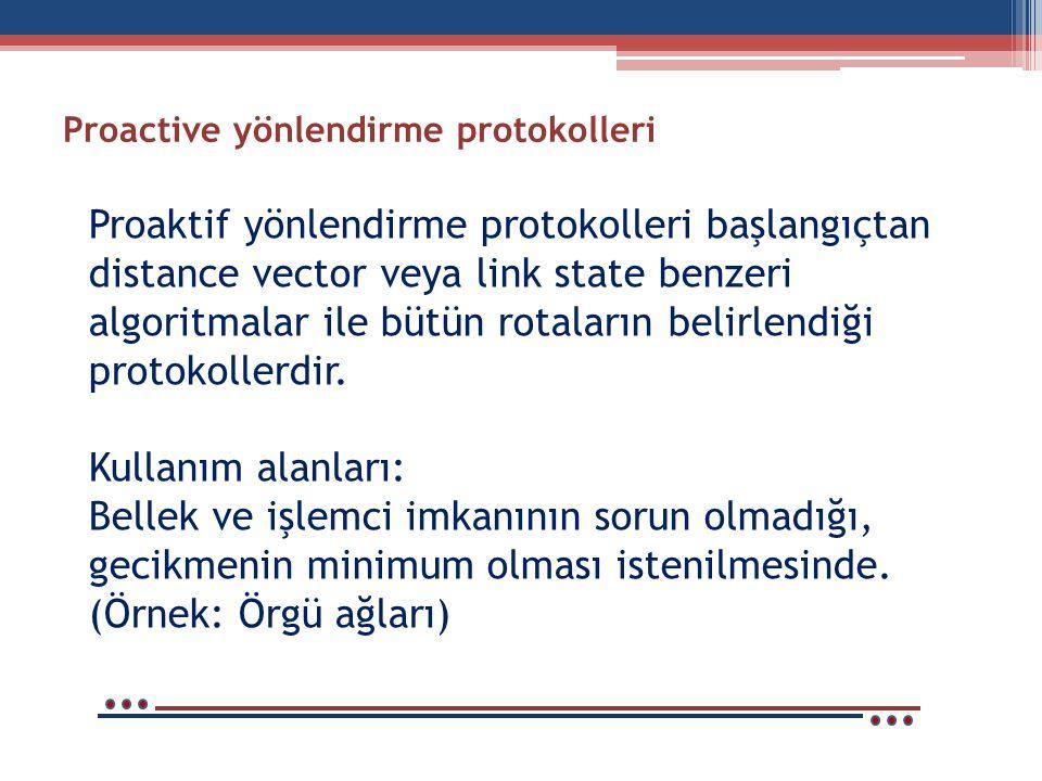 Proactive yönlendirme protokolleri