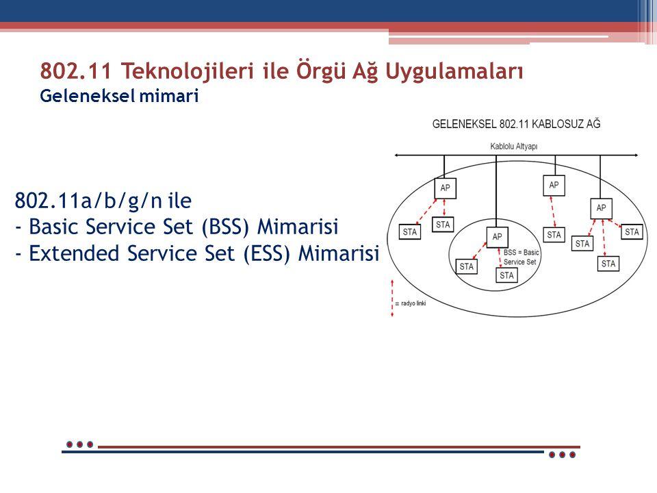 802.11 Teknolojileri ile Örgü Ağ Uygulamaları Geleneksel mimari
