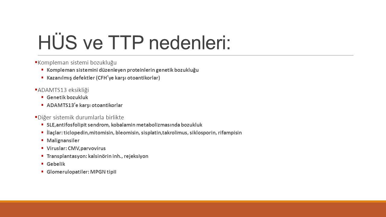 HÜS ve TTP nedenleri: Kompleman sistemi bozukluğu ADAMTS13 eksikliği