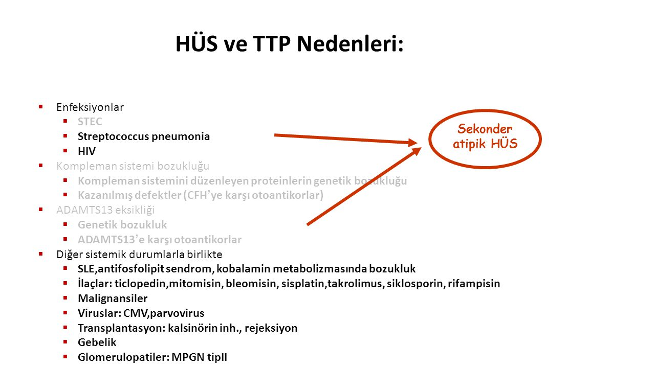 HÜS ve TTP Nedenleri: Enfeksiyonlar STEC Streptococcus pneumonia HIV