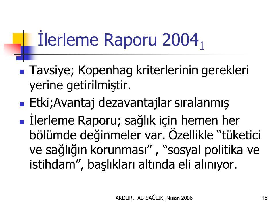 İlerleme Raporu 20041 Tavsiye; Kopenhag kriterlerinin gerekleri yerine getirilmiştir. Etki;Avantaj dezavantajlar sıralanmış.