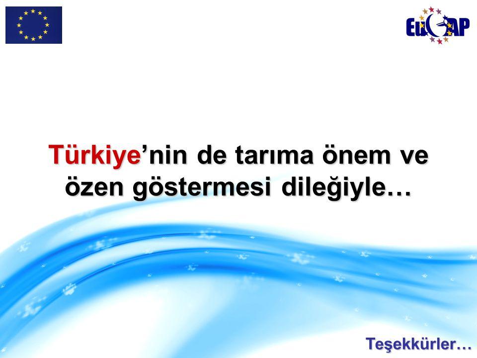 Türkiye'nin de tarıma önem ve özen göstermesi dileğiyle…