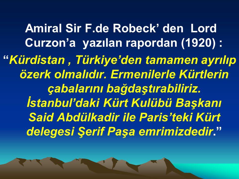 Amiral Sir F.de Robeck' den Lord Curzon'a yazılan rapordan (1920) :