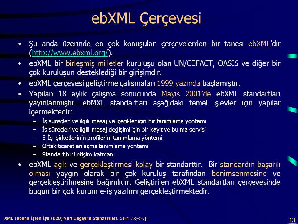 ebXML Çerçevesi Şu anda üzerinde en çok konuşulan çerçevelerden bir tanesi ebXML'dir (http://www.ebxml.org/).