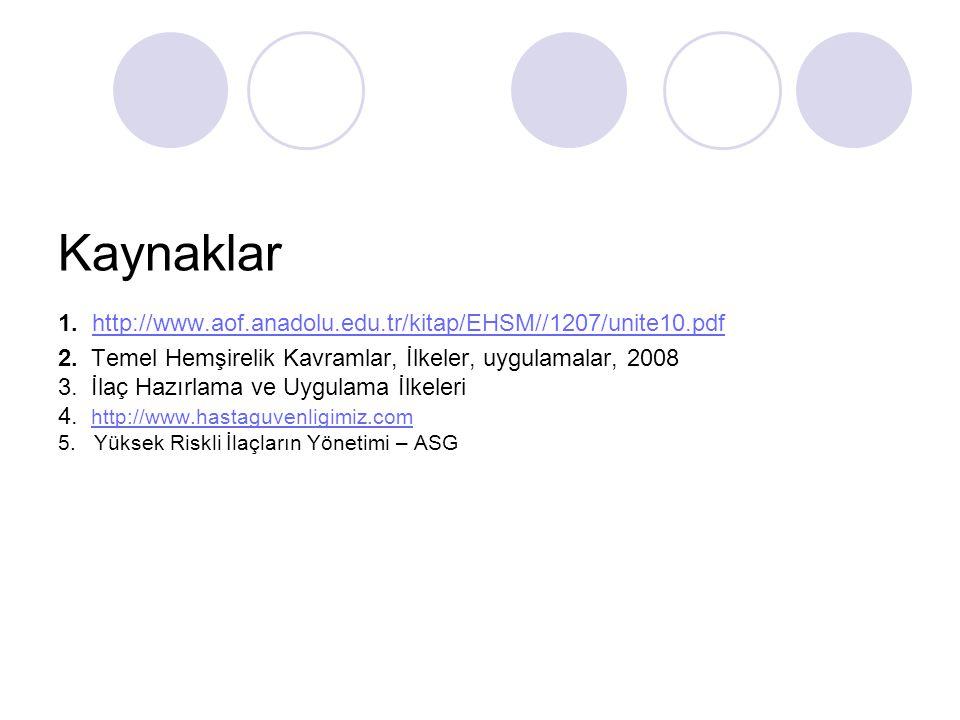 Kaynaklar 1. http://www.aof.anadolu.edu.tr/kitap/EHSM//1207/unite10.pdf 2.