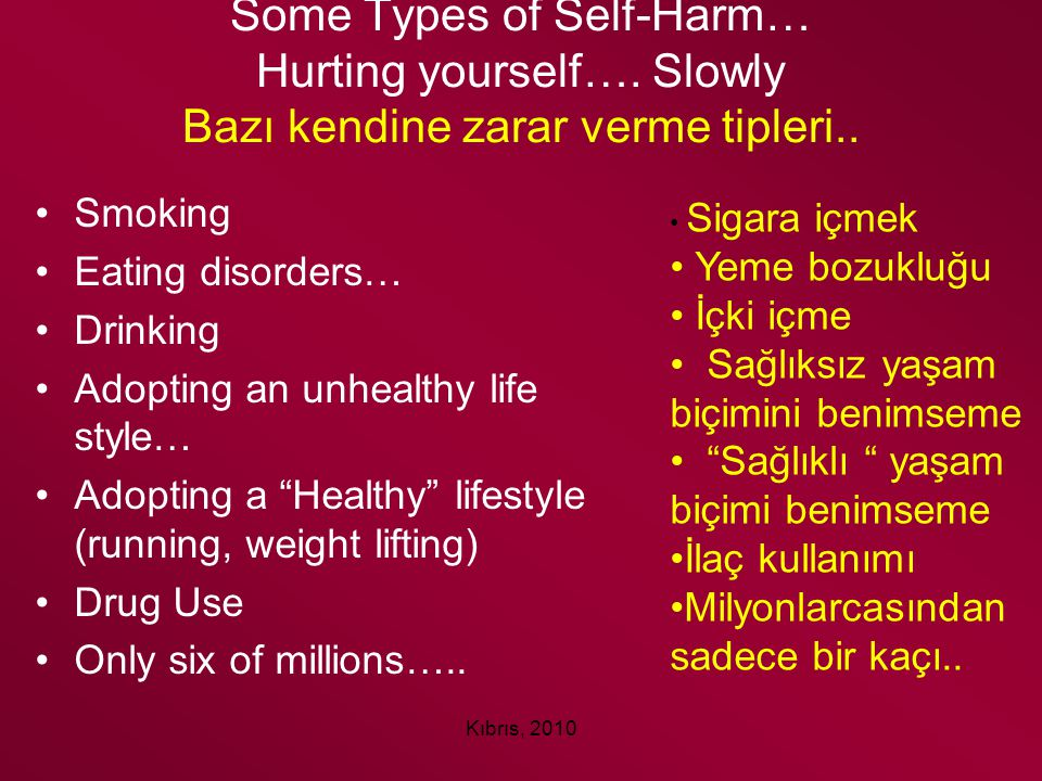 Some Types of Self-Harm… Hurting yourself…
